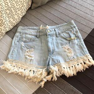 Altar'd State Light Wash Fringe Crochet Shorts 29